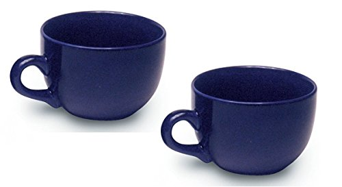 Large Tea Mugs - Jumbo Extra Large Ceramic Coffee & Soup Mug 22 ounce, Cobalt Blue (Pack of 2)