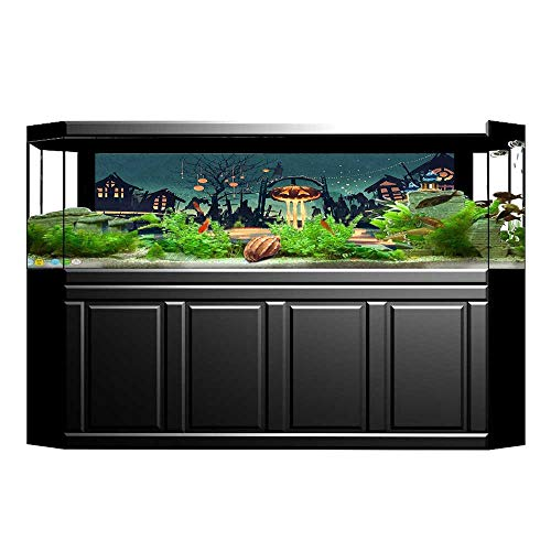 Jiahong Pan Background Fish Tank Decorations Halloween Theme Night Pumpkin and Haunted Ghost Town Teal Orange Fish Tank Backdrop Static Cling Wallpaper Sticker L35.4 x H15.7