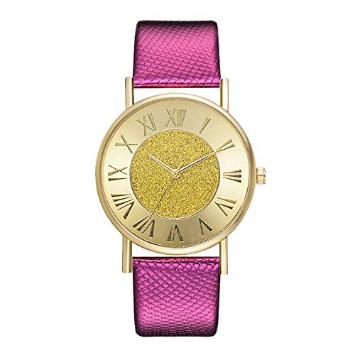 Potato001 Women Loose Powder Design Roman Numbers Round Dial Quartz Party Wrist Watch - Rose Red from Potato001