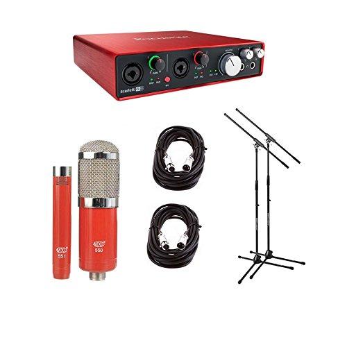Focusrite Scarlett 6i6 USB Audio Interface, 2nd Gen - Bundle With MXL 550/551R Condenser Ensemble Microphone Kit, 2x Pig Hog 20' 8mm XLR Microphone Cable, 2x Samson MK10 Lightweight Boom Mic Stand by Focusrite