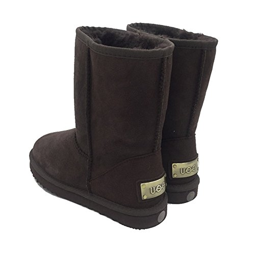 Uoo Mujeres Classic Sheepskin Snow Botas Modelos Short Botas Chocolate