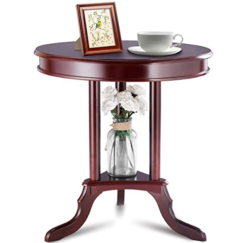 Cypressshop Round Table Side End Table Accent Table Couch Sofa Tea Coffee Desk Mahogany Home Furniture Living Room Bedroom