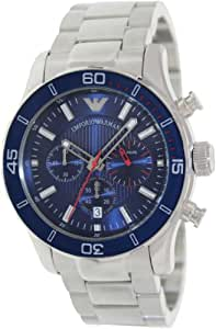 Emporio Armani AR5933 - Reloj para hombres, correa de acero inoxidable chapado color plateado