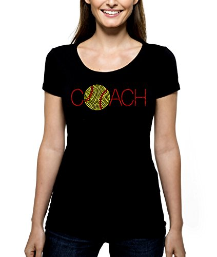 Softball Coach Coaching RHINESTONE T-Shirt Shirt Tee Bling - Soft Ball Game Diamond Bases Sports Sport Leader Captain Mentor - Pick Shirt Style - Scoop Neck V-Neck Crew Neck