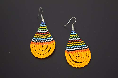 African Beads Earrings - Handmade in Kenya - Length: 3 Inches (with hooks) - Orange
