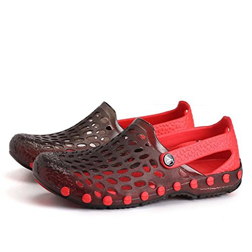 ZXCV Zapatos al aire libre El talón al aire libre de las sandalias planas de los hombres calza los zapatos de los hombres Negro y rojo