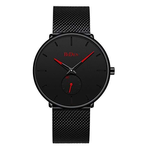 Mens Watches Ultra Thin Minimalist Waterproof Wrist Watch Luxury Business Fashion Casual Simple Dress Classic Analogue Quartz Watches - Black Red