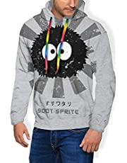 RHDFHK Soot Sprite Retro Japanese Men's Fashion Sweatshirt Hoodie Hooded Pullover Pockets Plus Velvet
