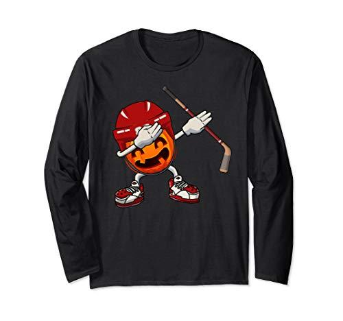 Halloween Pumpkin Hockey Player (Dabbing Hockey Pumpkin Player With Helmet Halloween Costume Long Sleeve)