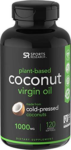 Extra Virgin Organic Coconut Oil Capsules | Vegan Certified, Non-GMO Project Verified (120 Veggie-softgels)