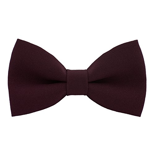 Classic Pre-Tied Bow Tie Formal Solid Tuxedo, by Bow Tie House (Medium, Marsala)
