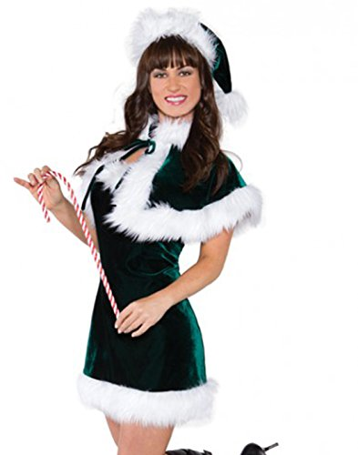 [Underwraps Women's Jingle, Green/White, Medium] (Childrens Santas Helper Costume)