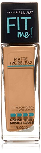 Maybelline Makeup Fit Me Matte + Poreless Liquid Foundation Makeup, Natural Tan Shade, 1 fl oz