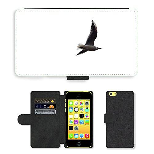 Just Phone Cases PU Leather Flip Custodia Protettiva Case Cover per // M00127798 Contexte Oiseau Blanc Vol // Apple iPhone 5C