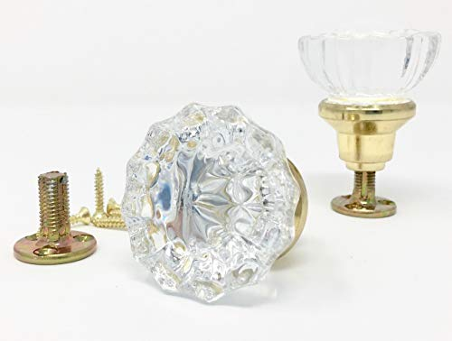 Rousso's Reproductions Crystal Antique Replica Surface Mount Dummy French Door Knob Set for One Side of Two Doors or Both Sides of One Door Also for Decorating Ideas with Faux Knobs (Polished Brass) -