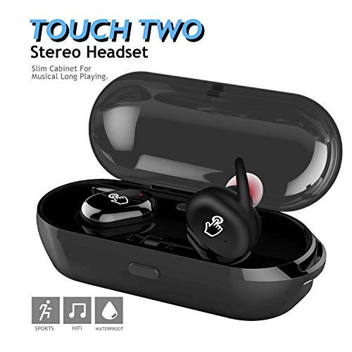 Bluetooth Earbuds, LEWUJIANG Touch Control True Earphone Headphones Wireless Sport Earbud with 3D Stereo Surround Super Bass Noise Cancellation Headsets TWS Earphones (Earbud Surround Sound Headphones)