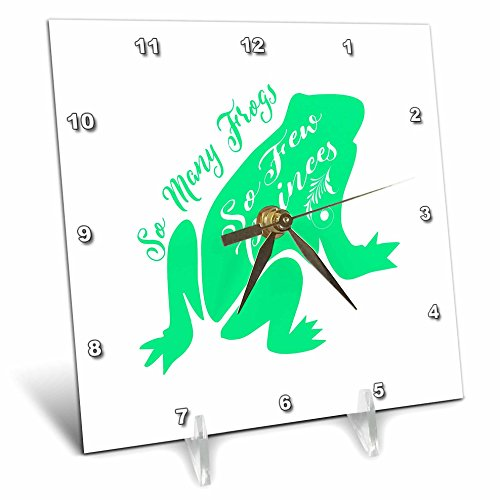 3dRose Russ Billington Designs - Funny Frog Prince Typography design in Green and White - 6x6 Desk Clock (Frog Prince Clock)