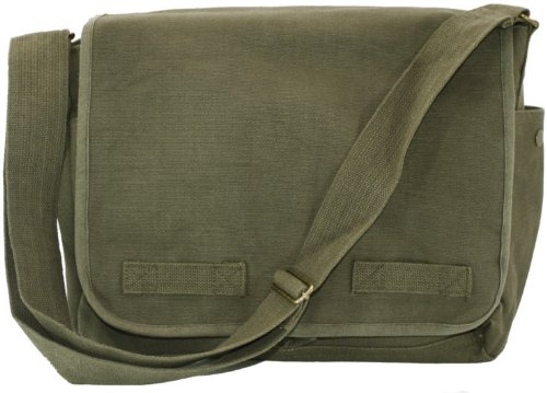 Olive Green Original Heavyweight Classic Military Messenger Bag with Army Universe Pin by Army Universe