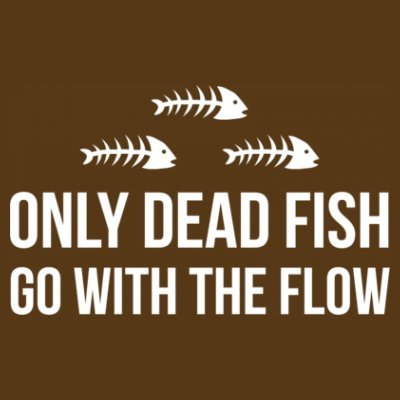 Shirtcity Only Dead Fish Go With The Flow Hoodie M Brown