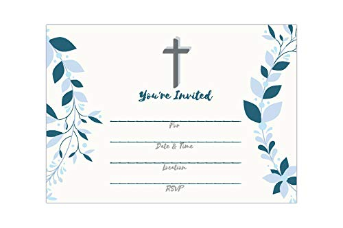 25 Religious Invitations – Boys or Girls -, Fill in Blank Cards Invites - Baptism, Confirmation, Holy Communion, Christening, Reconciliation, Baby Dedication with envelopes, 5x7 inches