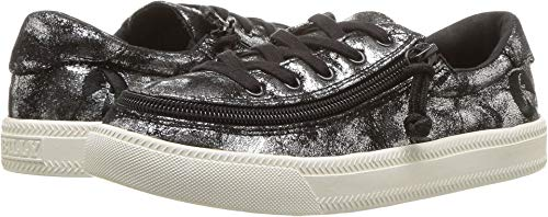 BILLY Footwear Kids Baby Girl's Classic Lace Low (Toddler/Little Kid/Big Kid) Black Metallic 4 M US Big Kid ()