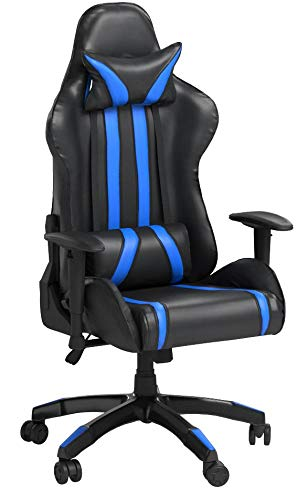 Ergonomic Racing Gaming Chair Swivel Computer Desk Chair Office Chair High Back with Adjustable Headrest and Lumbar Support R78-Blue, without Footrest Yongchuang