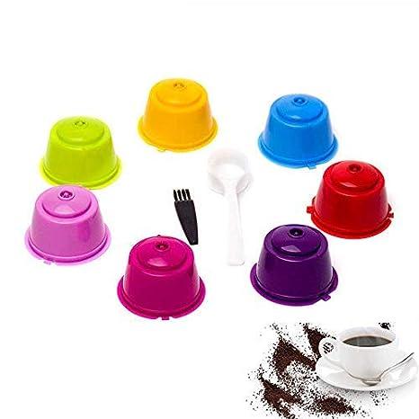 Umiwe Filtros Cápsulas de Café Puede Rellenables 7 Pcs Recargable Reutilizable para Cafetera Dolce Gusto con 1 Cucharón de Plástico y 1 Cepillo de Limpieza ...