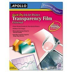 * Quick-Dry Transparency Film, Removable Sensing Stripe, Letter, Clear, 50/Box