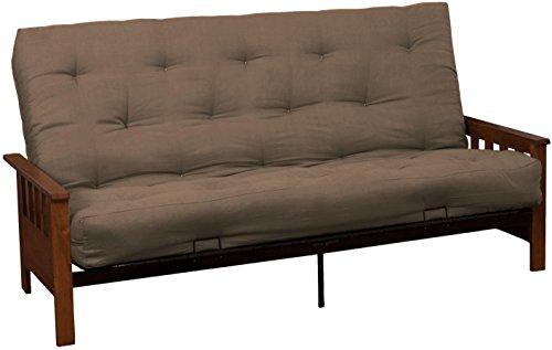Berkeley 8-Inch Loft Inner Spring Futon Sofa Sleeper Bed, Full-size, Walnut Arm Finish, Microfiber Suede Mocha Brown Upholstery