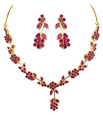 627e1828182 Buy Goldencollections Ruby Flower Necklace Set for Women Online at ...