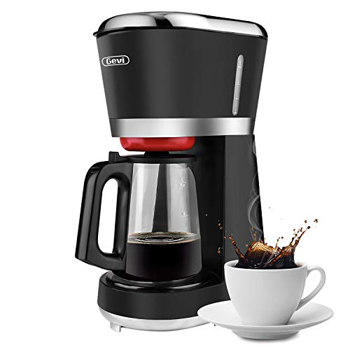 Gevi 5-Cup Coffee Maker with Auto Shut-Off, Extra Hot Drip Coffeemaker Small Coffee Brewer Machine with Cone Filter, Hot Plate and Glass Carafe