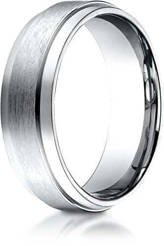 Benchmark 14k White Gold 7mm Comfort-Fit Satin-Finished with High Polished Drop Edge Carved Dsn Band, 12 ()