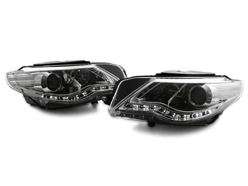 09-12 VW CC E-CODE PROJECTOR HEADLIGHTS W/S5 STYLE LED STRIP - CHROME