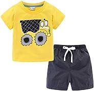 Mud Kingdom Little Boys Shorts Sets Cute Cartoon Summer Holiday