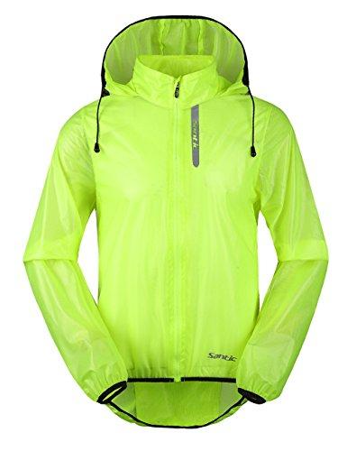 Santic Cycling Raincoat Mens Waterproof Running Jacket Hooded Skin Coat Green XL