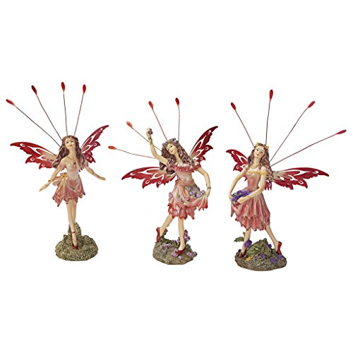 Design Toscano Crosstweed Meadow Victorian Fairy Figurine Statues, 8 Inch, Set of Three, Polyresin, Full Color ()