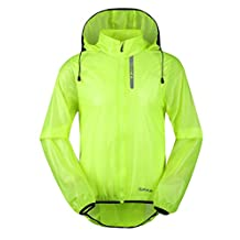Santic Cycling Raincoat Mens Waterproof Running Jacket Hooded Skin Coat Green Medium