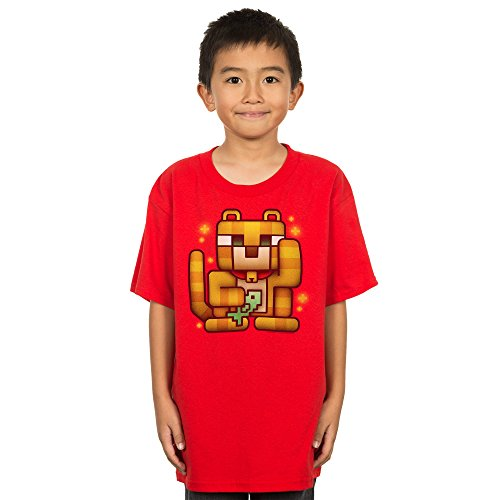 Minecraft Boy's Lucky Ocelot Youth T-Shirt, Red Heather, ...