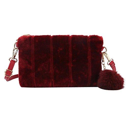 Bolsos Bandolera de Felpa para Mujeres, Holacha Crossbody Bolsas de Hombro de Mensajerode Tote con Accesorios de Pelota de Felpa Moda Elegante Rojo