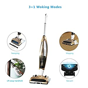 3-in-1 Cordless Stick Vacuum Cleaner, with Detachable Hand Vacuum with HEPA Filtration, Lightweight Rechargeable Bagless Stick and Handheld Vacuum Swivel Mop Floor Cleaner ,Gold