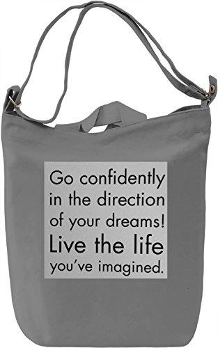 Live the Life Borsa Giornaliera Canvas Canvas Day Bag| 100% Premium Cotton Canvas| DTG Printing|