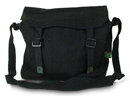Large Military Style Messenger Bag Black Haversack by Highlander Black
