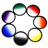 Yunchenghe Set of Color Filters for Camera Lenses, 62 mm Thread, Includes Orange/Red / Yellow/Gray / Blue/Green / Purple -7 Pieces