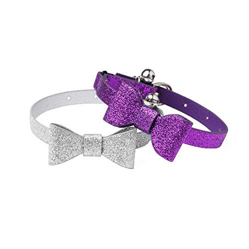 Joansan Adjustable Cats Collar with Bell, Personalized Leather Bow tie, Safety Pet Cat Collars with Elastic, Length 7-10 Inch Good for Cat, Kitten and Puppy, 2 Packs of Silver and Purple
