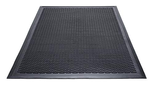 Guardian Clean Step Scraper Outdoor Floor Mat, Natural Rubber, 3'x5', Black, Ideal for any outside entryway, Scrapes Shoes Clean of Dirt and Grime (Renewed) ()