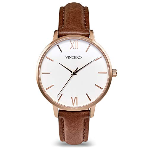 Vincero Luxury Women's Eros Wrist Watch - Rose Gold + White dial with a Coffee Leather Watch Band - 38mm Analog Watch - Japanese Quartz Movement