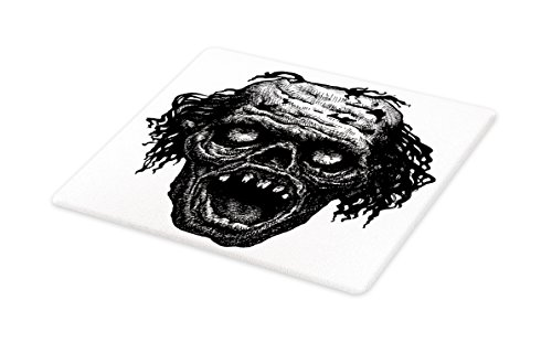 Ambesonne Halloween Cutting Board, Zombie Head Evil Dead Man Portrait Fiction Creature Scary Monster Graphic, Decorative Tempered Glass Cutting and Serving Board, Large Size, Black Dark Grey]()
