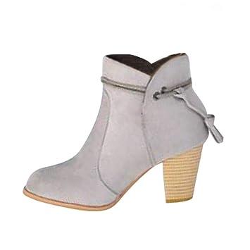 Logobeing Botines Mujer Tacon Invierno Planos Ancho Piel Botas de Agua con Cremallera Botas Altas Mujer Combat Zapatos de Mujer (35,Gris): Amazon.es: ...