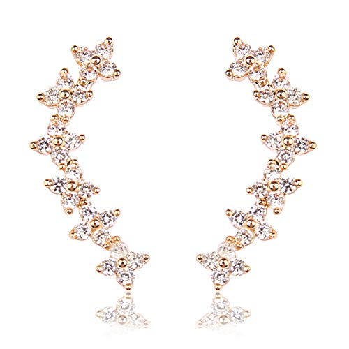RIAH FASHION Sparkly Rhinestone Floral Ear Crawlers - Crystal Petal Leaf Branch Climber Earlobe Cuff Earrings Delicate Cubic Teardrop (Flower - Gold)