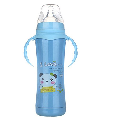 Baby Feeding Bottle Warmmer Kids Double-wall Stainless Steel Thermal Insulation Mug with Straw Handle Born 240mlg (blue) (Nfl Colts Baby Stuff)